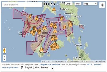 Bản đồ cung cấp các thông tin cần thiết cho nạn nhân cơn bão tại Philippines