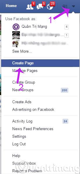 Chọn Create Page
